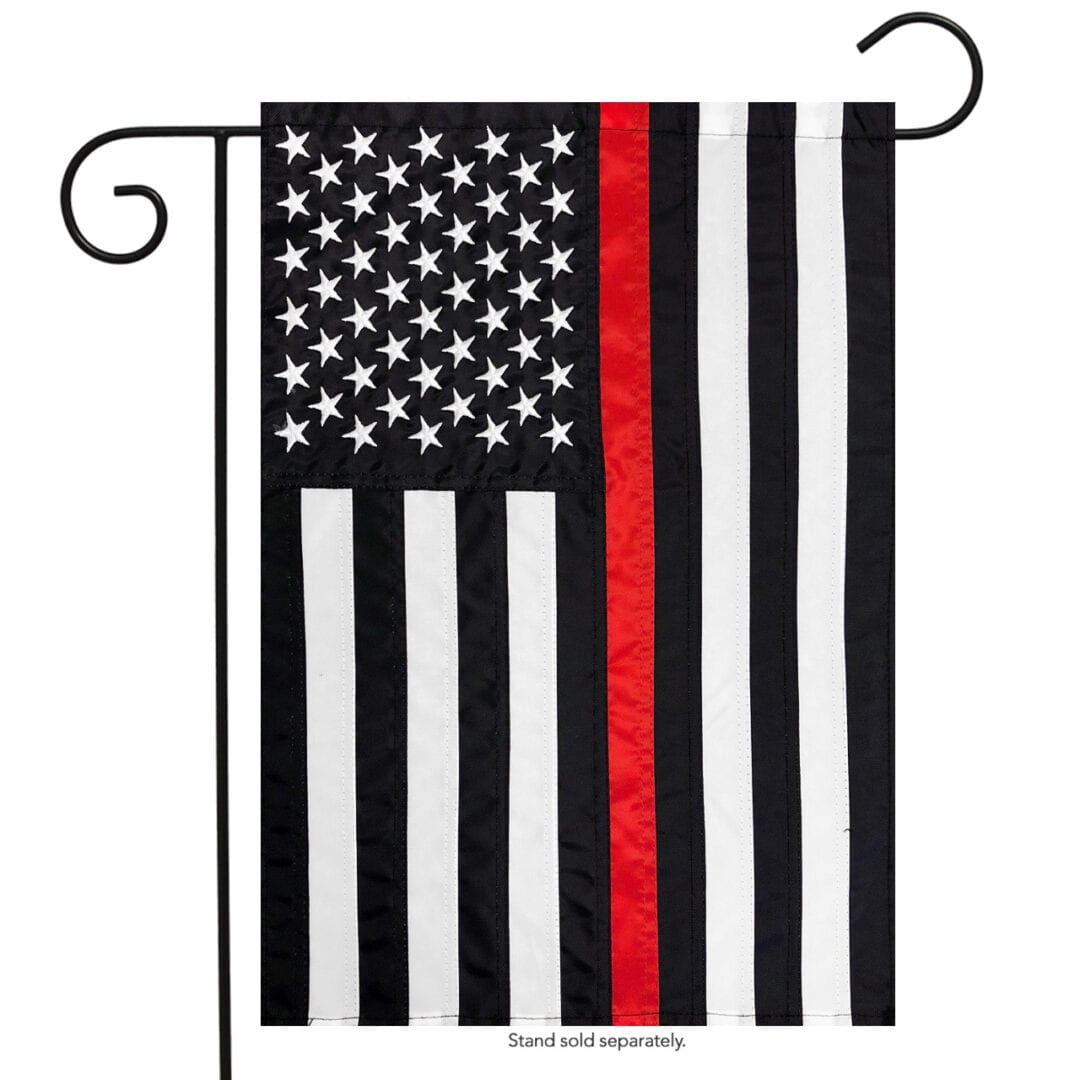 Red Line Embroidered Garden Flag