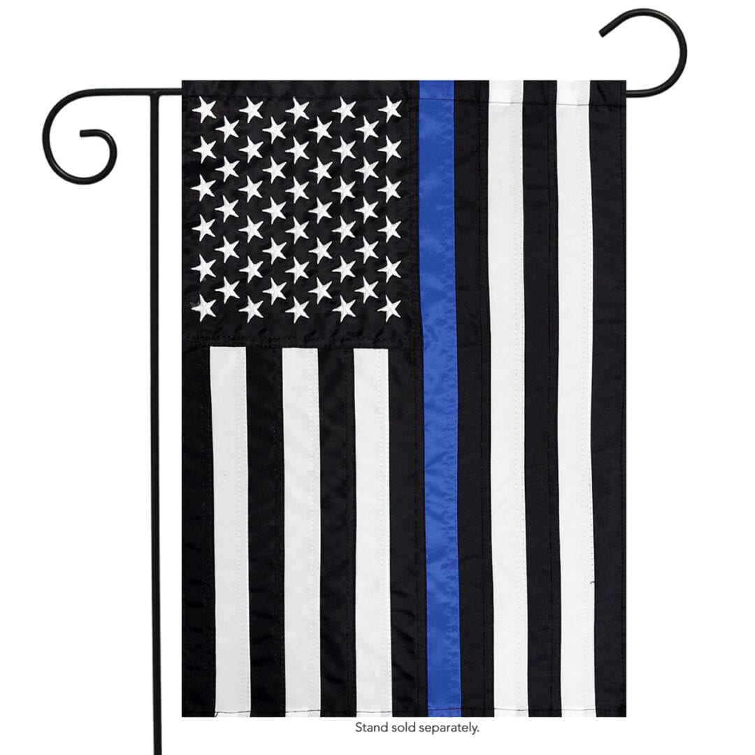 USA blue Line Embroidered Garden Flag