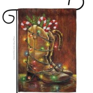 Christmas Cowboy Boots Garden Flag
