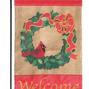 Christmas Cardinal-Wreath Garden Flag
