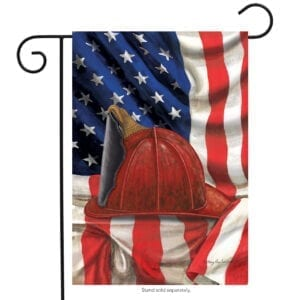 USA Flag with firefighter helmet
