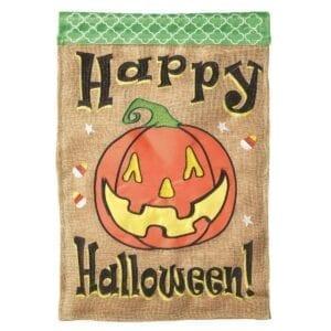 Happy Halloween Jack O lantern on burlap