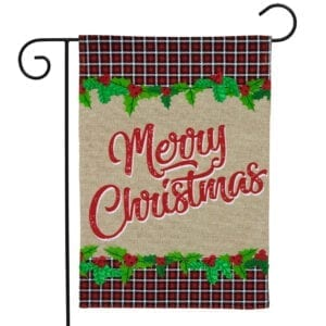 Merry Christmas in Plaid Garden Flag