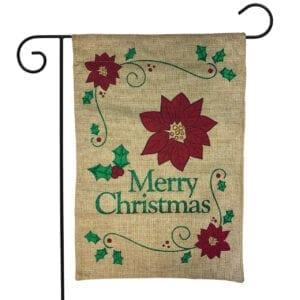 Merry Christmas Poinsettia on Burlap Garden Flag